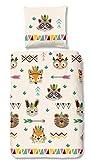 Aminata Kids - Kinder-Bettwäsche-Set 135-x-200 cm Indianer-Motiv Zoo-Tiere Fuchs Waschbär 100-% Baumwolle Renforce bunt-e beige