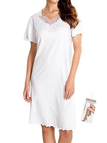 Cybele Damen Nachthemd Kurzarm Länge 100 cm Gr. 54 Sleepshirt Nachtwäsche + 1 Paar Feinkniestrümpfe
