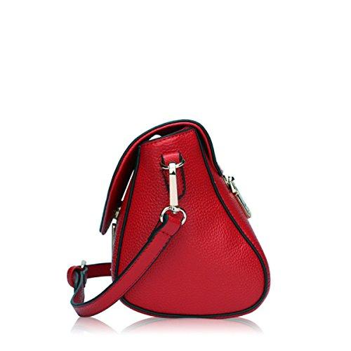 Umhängetasche Lychee Muster Leder Handtasche Umhängetasche Handtasche Red