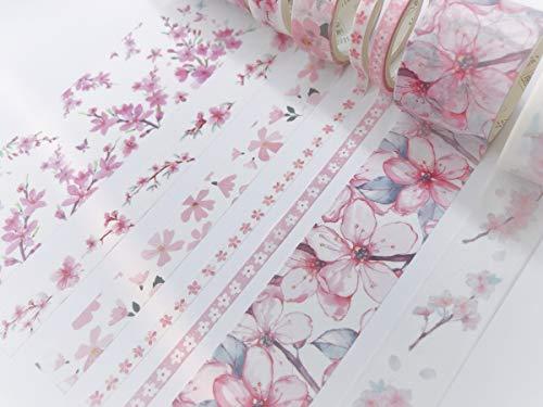 Kirschblüten Pink Sakura Print Washi Tape Set mit 7 Rollen Inkl. extra breitem Klebeband für Scrapbooks, Geschenkpapier, Wandpapierbordüren, Basteln und Dekorieren