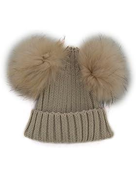 MIOIM Unisex Badymütze Winter Beanie Strickmütze Hüte Waschbärpelz Mützen Wolle kappe für Baby Mädchen Jungen