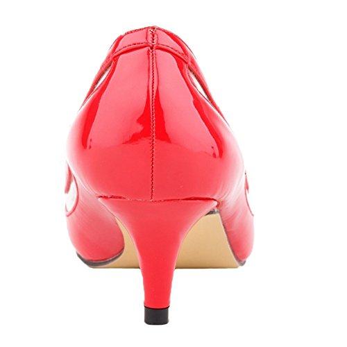 HooH Femmes Kitten Heel Transparent Bout pointu Work Robe Escarpins Rouge