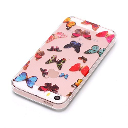 Coque iPhone 5S , TPU Etui Coque pour iPhone SE ,CaseLover Papillon Motif Mode Etui Coque TPU Slim pour Apple iPhone 5 / 5S / SE Mode Flexible Souple Soft Case Couverture Housse Protection Anti Rayure Elephant et Fleur