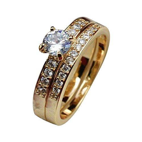 Hniunew Metallring Ring Aus Stahl Doppelter Massiver Goldoptik Ring Ringkombination In PaargrößE Schmuck Gold üBerzogene Zirkonia-Band-Ring Goldring FüR Frauen Und MäDchen -