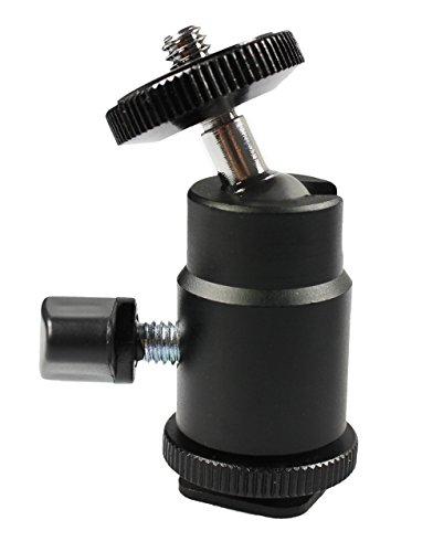 """com-four® Mini Stativkopf mit Kugelkopf/Tripod Mini Ball Head mit 1/4"""" Gewinde für DSLR Kamera Stativ 360° drehbar (Blitzschuh-Montage)"""