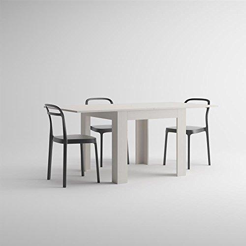 Mobilifiver eldorado tavolo da pranzo, nobilitato, apertura a libro, frassino bianco, allungabile fino a 180 cm, chiuso  90 x 90 x 77 cm