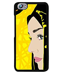 PrintVisa Designer Back Case Cover for Micromax Canvas Fire 4 A107 (Girl Beautiful Hair Lips Fashion Eyes Portrait Design Illustration)