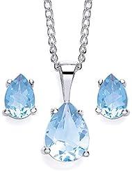 Chic - 1151SET-1 - Parure collier et boucles d'oreilles Femme - Argent 3 Gr - Topaze Bleu