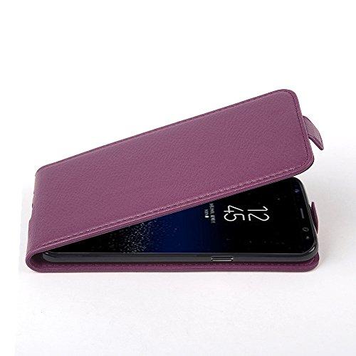 Cadorabo Hülle für Samsung Galaxy S8 - Hülle in Bordeaux LILA – Handyhülle aus Strukturiertem Kunstleder im Flip Design - Case Cover Schutzhülle Etui Tasche