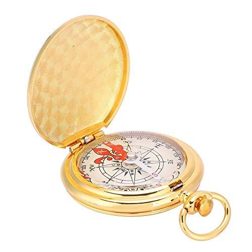 Alomejor Messing Kompass Taschenuhr Stil Kompass Camping Navigationsrichtung Werkzeug für Outdoor Camping Wandern und Notfälle -