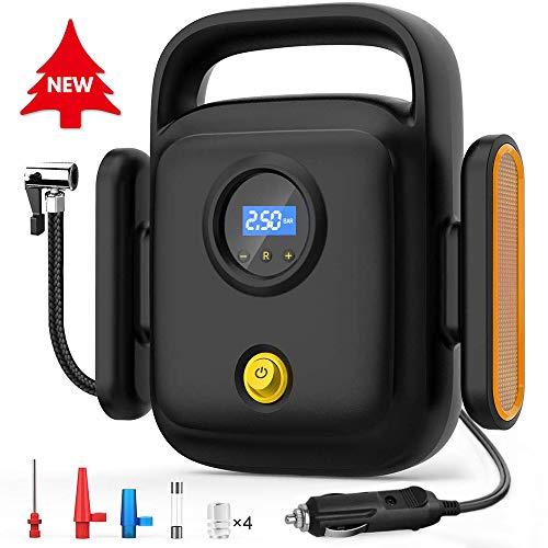 Directtyteam Elektrische Luftpumpe 12V Auto Mobile Kompressoren Intelligente Reifendruckerkennung Autoluftpumpe Reifenpumpe[Kreative Beleuchtung & Warnleuchten]