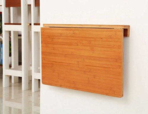 Faltbarer Wandtisch ZCJB Natürlicher Bambus Wand-Drop-Blatt Tisch, Falten Küche & Esszimmer Tisch Schreibtisch, 60x40cm