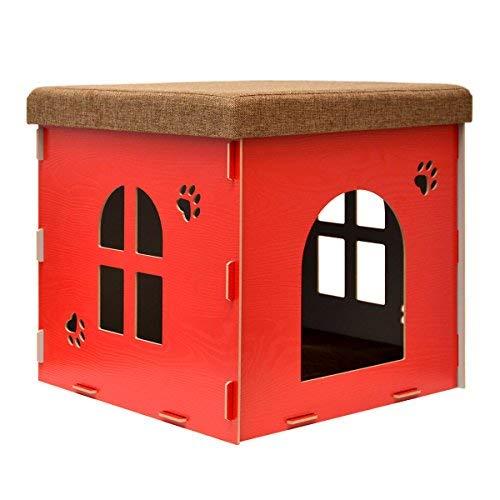 Deayi Stabile Katzenhöhle Sitzhocker Sitzwürfel inkl Katzenhaus Holz Kuschel Höhle Fuer Hunde Katzen Rot L: 46x46x46cm