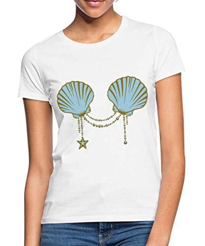Muschel Meerjungfrau Bh Kleine Kostüm - Spreadshirt Meerjungfrau Muschel-BH Nixe Kostüm Frauen T-Shirt, XXL (44), Weiß