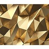 decomonkey | Papier peint intissé 3d Effet 300x210 cm XL Trompe l oeil | Déco Mural Tableaux Muraux Photo Abstrait or...
