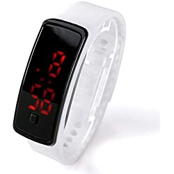 JSDDE Red LED Light Jelly Sports Watch Silicone Strap Men's Ladies Wrist Watch, White
