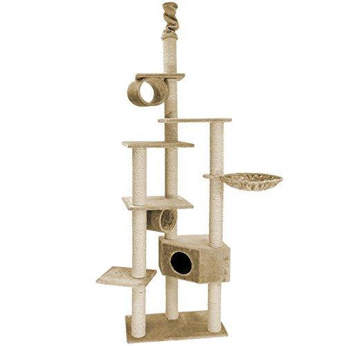 Happypet® CAT008 Kratzbaum Katzenbaum deckenhoch 2,30 bis 2,60 hoch Beige