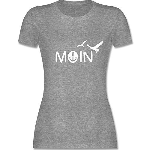 Statement Shirts - Moin - L - Grau meliert - L191 - Damen T-Shirt Rundhals