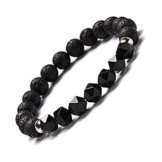 ZGRJIUERYI Stone Bracelet,Natural Stone Beaded Bracelet, Natural Stone Black Agate B-Cut Triangle Energy Crystal Bracelet Agate Volcanic Stone Bracelet, Personalized Clothing Accessories Jewelry