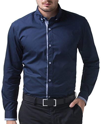 Long-Sleeve-Mens-Shirts-Slim-Fit-Buttons-Down-Cotton-CL5247