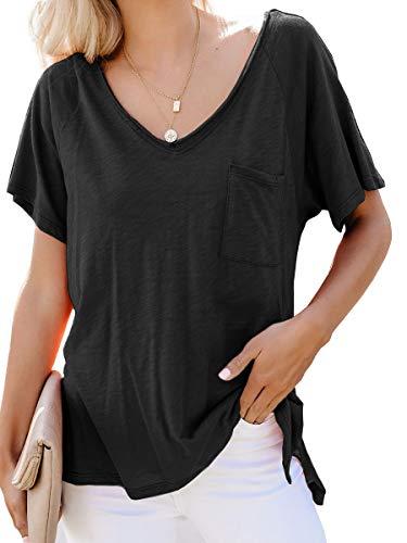 Damen Sommer T-Shirt Top Kurzarm V-Ausschnitte Loose Oversize Baumwoll Tee Shirt Oberteile (Medium, 202 schwarz) -