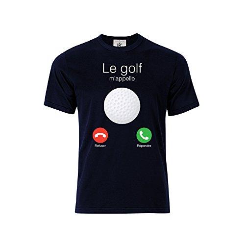 Mygoodprice T-Shirt col Rond Le Golf m'appelle Bleu XL