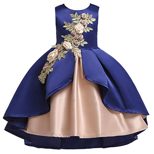 Price comparison product image for 2-9 Years Old,  Toddler Kids Baby Girl Clothes Bowknot Wedding Bridesmaid Pageant Princess Dress (C-Blue,  12-24 Months)