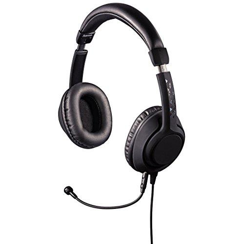 Hama PC Gaming Headset 4-poliger Klinkenstecker und 3-poliger Adapter (Ideal für PC, Notebook, Konsole, Tablet, Smartphone, Abnehmbares Mikrofon) schwarz