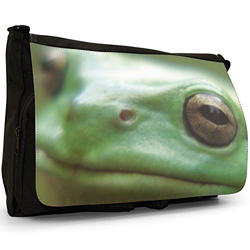 Fancy A Bag Borsa Messenger nero Green Frog On Leaf Close Up Of Frogs Face