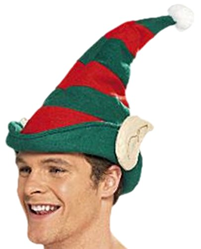 cootillon - Herren Männer Unisex Erwachsenen Elfen Mütze gestreift mit Glöckchen Weihnachts Kostüm, One size, Grün Rot
