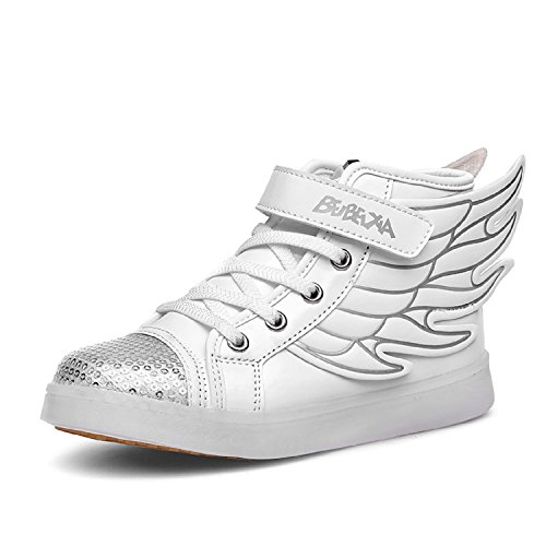 Dogeek scarpe led bambino scarpe con luci luminosi sneakers con luce nella suola bright tennis scarpe bambina ali usb 7 colori lampeggiante trainners (32 eu, bianco)