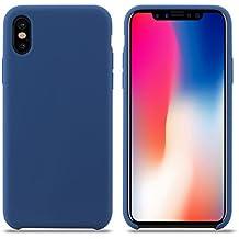 coque iphone x apple silicone bleu