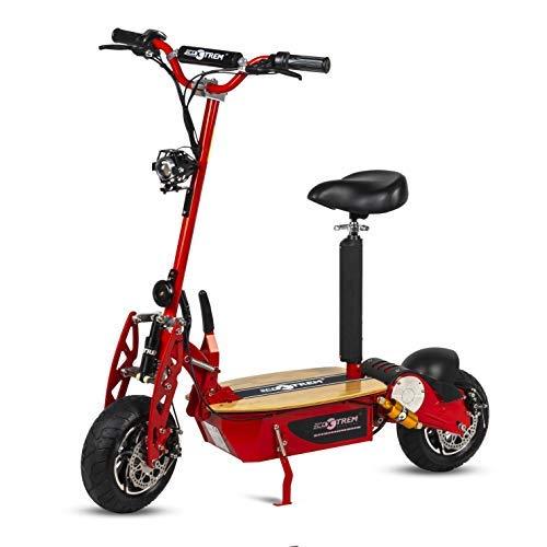 Patinete, Scooter tipo moto Eléctrico dos ruedas, Plegable, Color Rojo, Motor 2000W, Velocidad máxima 40km/h, Autonomía 30-40km, Suspensión, Luz LED y Sillin desmontable. Ideal para paseos urbanos.