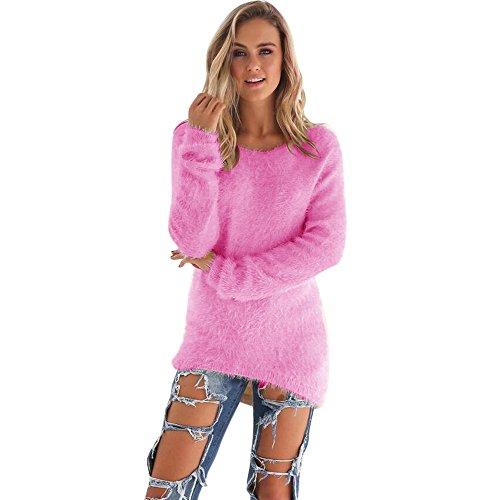 YunYoud Damen Große Größe O-Hals Pullover Frau Mode Beiläufig Einfarbig Sweater Plüsch Lange Ärmel Bluse Irregulär Warm Tops Herbst Winter Sweatshirt (XXL, Pink) (Hals-tunika)