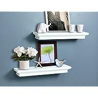 AHDECOR Decorative Floating Wall Shelves Storage Display Shelf White Finish Of 2 pcs