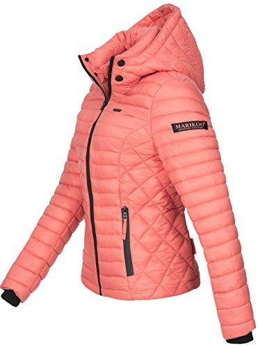 Marikoo Damen Jacke Steppjacke Übergangsjacke mit Kapuze gesteppt B600 [B600-Samt-Coral-Gr.XS] - 2