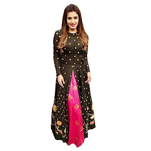 Hirva Collections Women's Crepe Silk Salwar Suit (Ravina 1_Black_Free Size, Semi-Stitched )