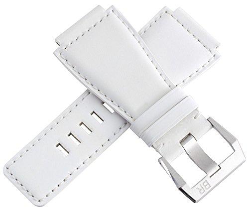 Bell & Ross Herren Weiß Leder Armband mit Edelstahl Schnalle 24mm