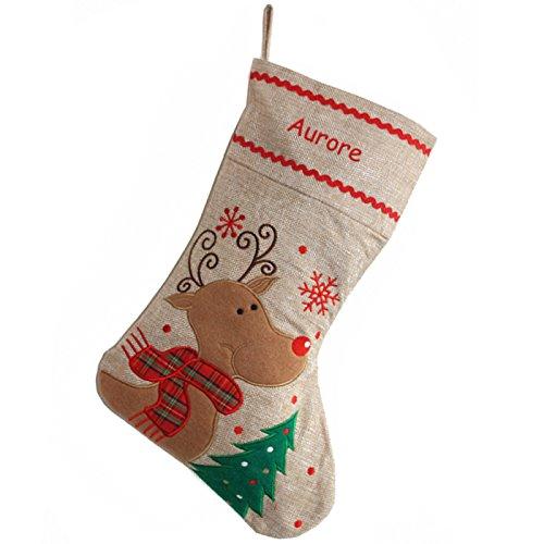 Calza natalizia in lino renna personalizzabile con nome