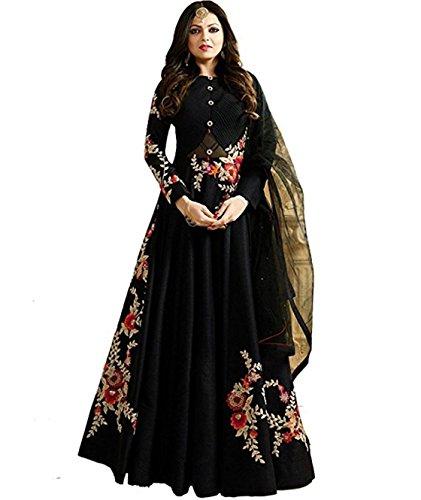 MONIKA SILK MILL Women's Georgette & Silk Semi Stitched Anarkali Suit (LTN104-1404A _Black_ Free size)