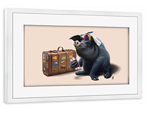 "Preisvergleich Produktbild artboxONE Poster mit Rahmen 60x40 cm Tiere Natur Reise ""Might (colour)"" beige Gerahmtes Poster weiß - Wandbild Tiere Natur Reise Kunstdruck von Rob Snow"