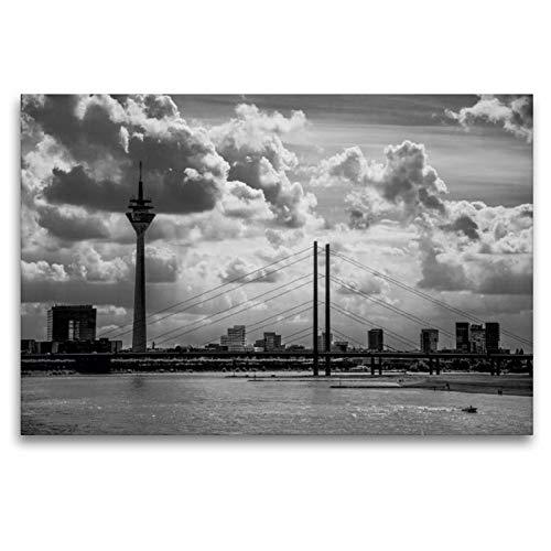 Premium Textil-Leinwand 120 x 80 cm Quer-Format Skyline von Düsseldorf   Wandbild, HD-Bild auf Keilrahmen, Fertigbild auf hochwertigem Vlies, Leinwanddruck von Micaela Abel