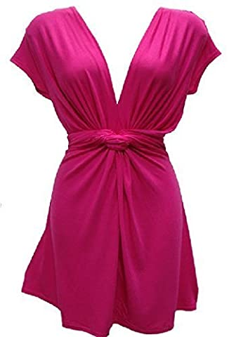 HOLIDAY SUITCASE LTD-NEW WOMANS LADIES SEXY SUMMER EVENING LONG KNOT TOP PLUS SIZE 12 TO 26 UK (20/22 UK, PINK)