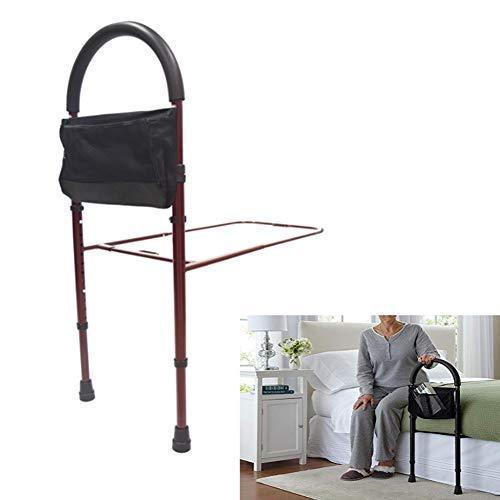 JOEPET Bed Assist Bar mit Stauraum und höhenverstellbarer Bettgitter für das Auf- und Aussteigen zu Hause für Senioren und Senioren,Red -