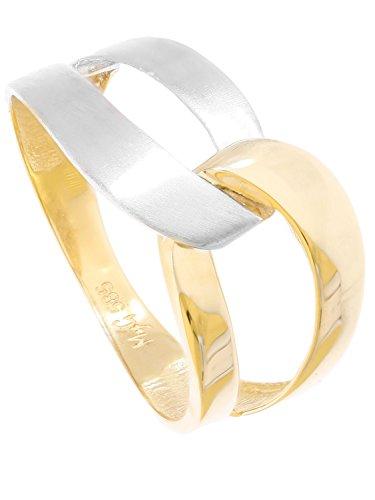 MyGold Damen Ring Goldring Gelbgold Weißgold 585 Gold (14 Karat) Bicolor Ohne Stein Matt Glanz Schlicht Damenringe Goldringe Gr. 56 Blogger Trends Geschenke Für Frauen Illos R-07930-G463-W56