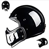 YSHHelm Professional Retro Motorradhelm Offenes Gesicht Helmkrempe, Kinnhaube, Maske, Brille,Black-S(55-56cm)