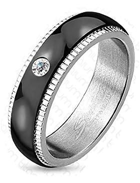 Paula & Fritz® Titan Ring silber 6mm breit Paarringe gerillte Kante mit Band schwarz und Zirkonia farblos verfügbare...