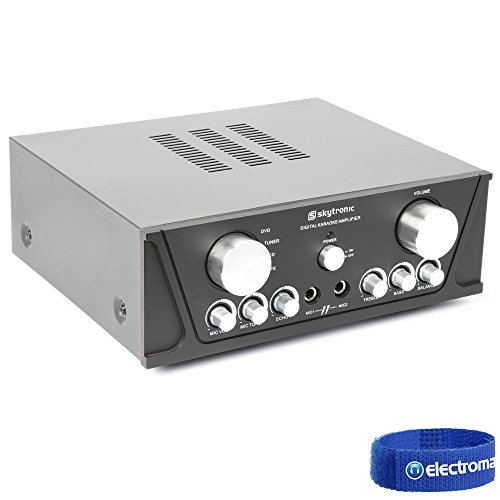 Skytronic Black 2x 50W Stereo DVD CD Karaoke Home Hifi Amplifier Mic Inputs
