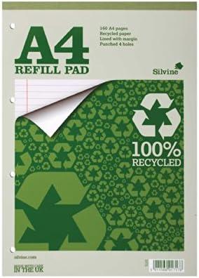 Silvine Silvine Silvine Réf RE4FM Bloc de cours en papier recyclé Reliure intégrale Ligné avec marge 160 pages 70 g/m² A4 Lot de 6 (Import Royaume Uni) B0031YGIXA | Valeur Formidable  5c11c6