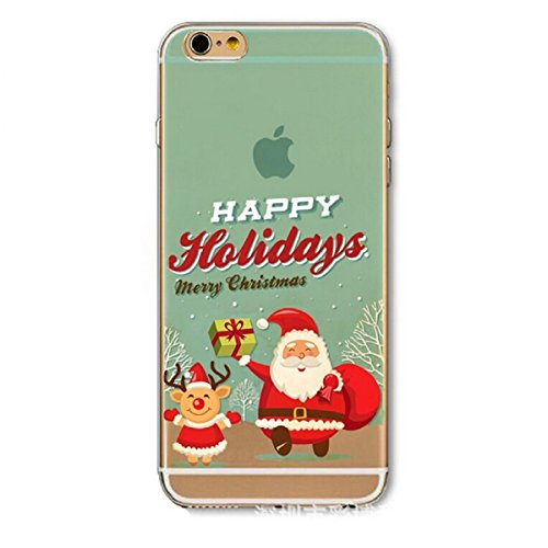 Coque iphone SE Rigid,iphone 5S Coque en Soft Silicone TPU Transparente,Ekakashop Jolie Christmas Noël Faon Design Ultra Mince Crystal Clair Souple Gel Housse Coque Motif Protecteur Back Arrière Cover Noël Vieux Cerf